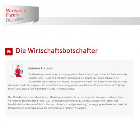 Wirtschaftsforum Düsseldorf: Jeannine Halene als offizielle Botschafterin